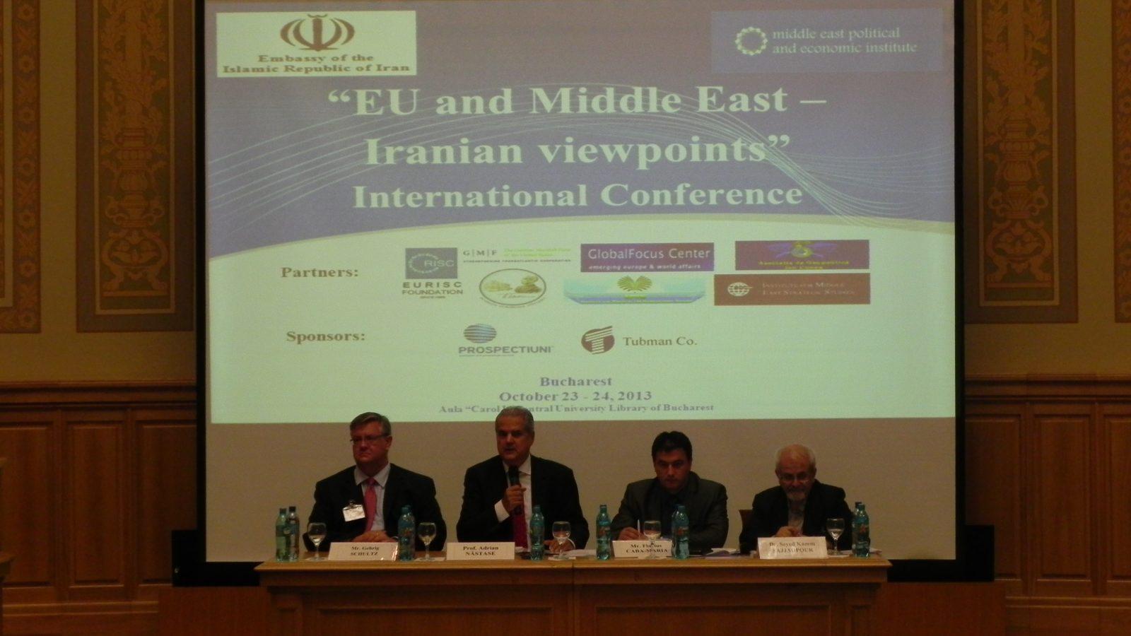 """Dl. Adrian Năstase, preşedintele FET, la Conferinţa """"EU and Middle East – Iranian viewpoints"""""""